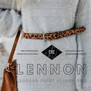 Accessories - 'The Lennon' Leopard Print Skinny Belt